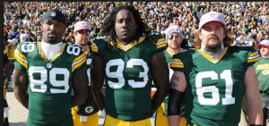 Image of James Jones, Erik Walden, and Brett Goode were all clueless to what was happening behind.