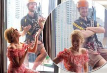 image of Kylie Minogue photobombed by a window cleaner