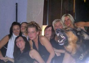 Image of girls and howling dog