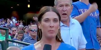 image of President George W Bush photobombs EmilyJonesMcCoy