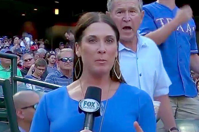 image of President George W Bush photobombs EmilyJonesMcCoy