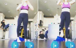 Image of man photobombing wife's workout
