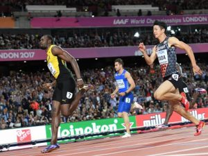 image Bolt photobombed Gatlin jeered