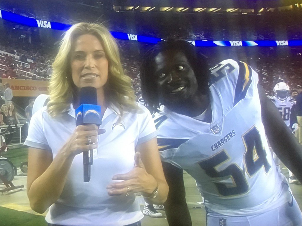 image of Melvin Ingram Photobombs TV Reporter