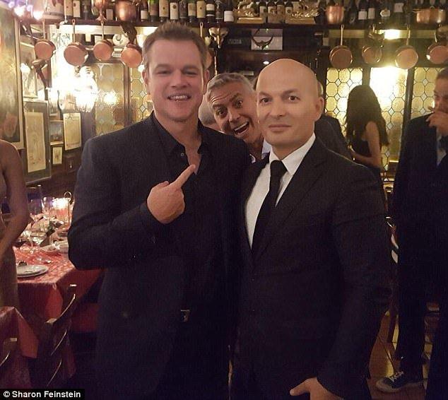 image of George Clooney Photobombing Matt Damon