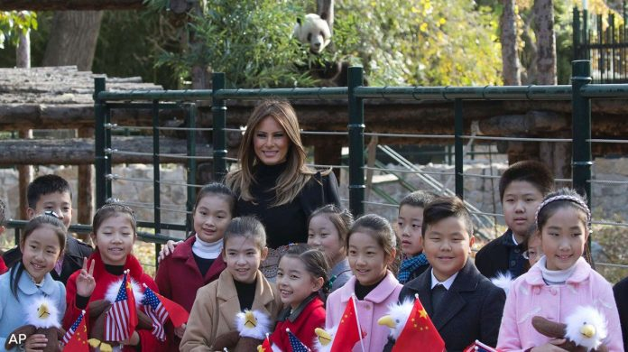 Image of Melania Trump and Panda