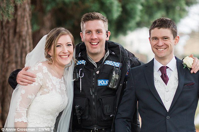 Image of Newly Weds and Police Officer