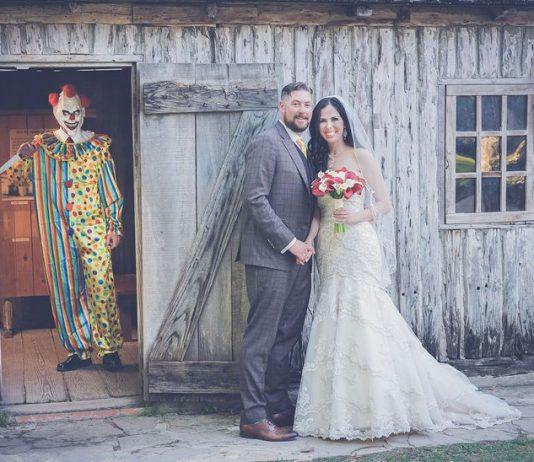 Wedding Photobomb by Creepy Clown