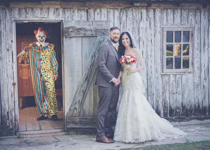 Wedding Photobomb by Creepy Clown